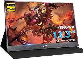 13.3 inch Portable Monitor Kenowa 1920x1080 Computer Gaming Display Monitors HD IPS with Dual Type-C/USB-C HDMI Video Port...