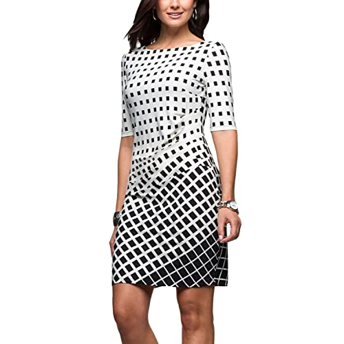03d69091 Eliacher Women Pleated Front Gradient Grid Print Summer Dresses Half Sleeve  Bodycon Midi Dress Knee Length