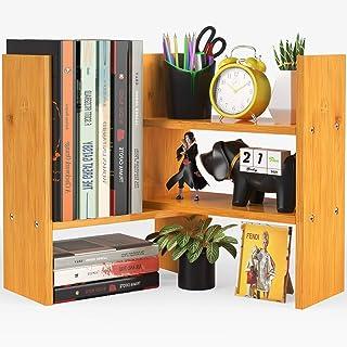 Pipishell Étagère de bureau en bambou - Grande étagère de rangement de bureau - En bois naturel - Réglable - Pour bureau, ...