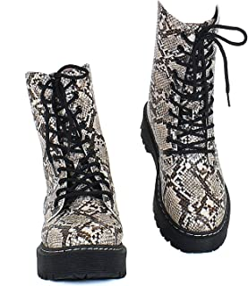Guilty Heart Womens Military Mid Calf Lace Up Combat Boots