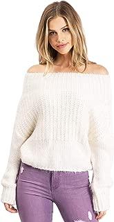 Lana Roux Women's Juniors Fuzzy Off Shoulder Sweater Top