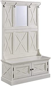 Home Styles Rustic Seaside Lodge White Hall Tree, Full Bench, Two Cabinet Doors, Beveled Glass Mirror, Four Coat Hooks