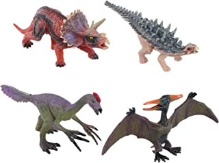 TOYANDONA 4pcs Fake Dinosaur Figure Simulation Lifelike Plastic Triceratops Pterodactyl Animal Learning Educational Toy fo...