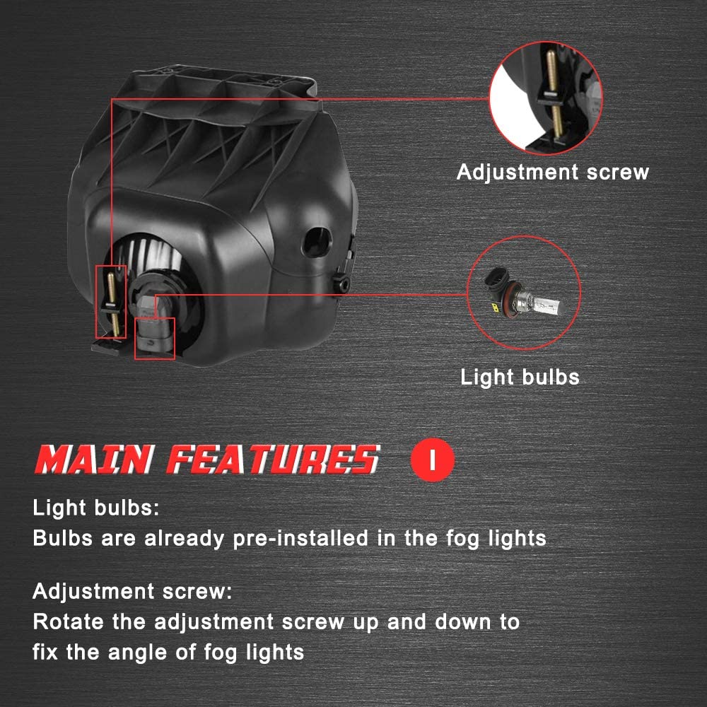 Driving Fog Lights Lamps Replacement for Chevy Silverado 2003 2004 2005 2006 2007 All Models Avalanche 2002-2006 Without Body Cladding H10 12V 42W Halogen Bulbs Smoke Lens
