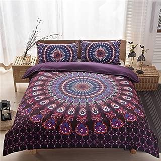 Argstar 3 Pcs Boho Chic Hippie Duvet Cover King, Purple Mandala Bedding Cover Set, 3D Bohemian Circle Comforter Cover, Soft Lightweight Microfiber, 1 Duvet Cover and 2 Pillowcases