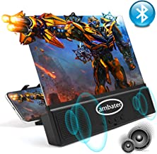 Phone Screen Amplifier with Bluetooth Speaker Anti-Blue Light 3D HD Cell Phone Screen Magnifier Projector with Foldable and Adjustable Stands Compatible with iPhone and Android All Smartphones- Black
