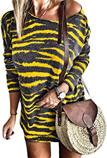 Howely Women Fall Winter Lounge Oversized Round Neck Stripes Casual Dress