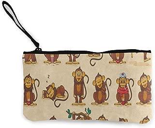 Canvas Coin Purse Cartoon Monkey Emoji Smiley Customs Zipper Pouch Wallet For Cash Bank Car Passport