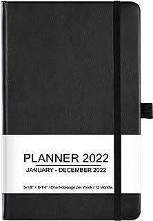 "Planner 2021-2022 - Academic Weekly & Monthly Planner, 5.12""x 8.25"", Jul 2021- Jun 2022, Faux Leather Cover, Pen Loop, Ela..."