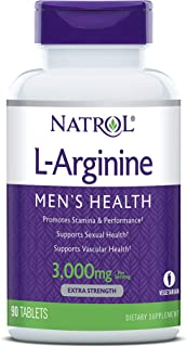 Natrol L-Arginine Tablets, Promotes Stamina and Performance, Supports Sexual and Vascular Health, Contains Nitric Oxide with B Vitamin Complex, Amino Acid, Extra Strength, 3,000mg, 90 Count