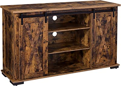 """Rustic TV Stand Console Barn Door Wood Entertainment Center Media Storage 60/"""""""