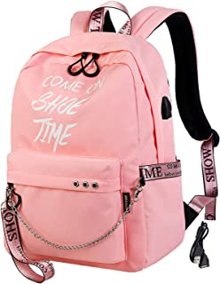 El-fmly Fashion Luminous Backpack with USB Port,College School Bags Backpacks Girls Denim