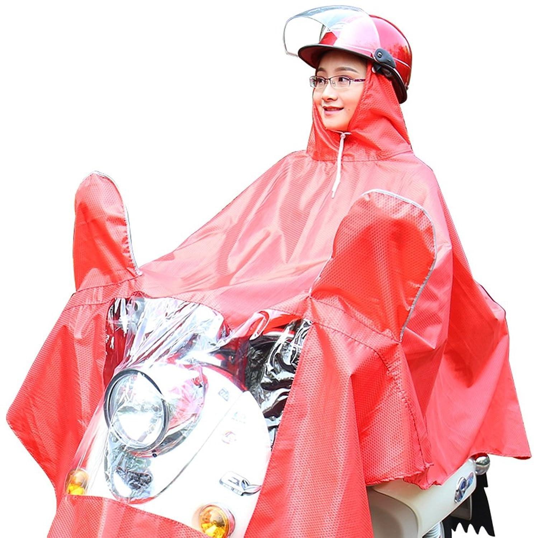 ビッグ レッド 厚い 乗る レインコート 女性 電気自動車 大人 ポンチョ