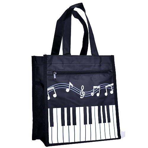 bca3974a3 Piano Keys Music Waterproof Oxford Cloth Handbag Shoulder Tote Shopping Bag  Gift (Black-Large