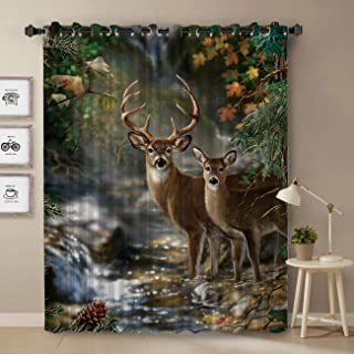 Darkening Blackout Curtain for Bedroom - 52 inch Long Window Treatment Curtain Drapes Modern Art Design for Living Room - Deer Forest River Scenery Pattern Decoration Design