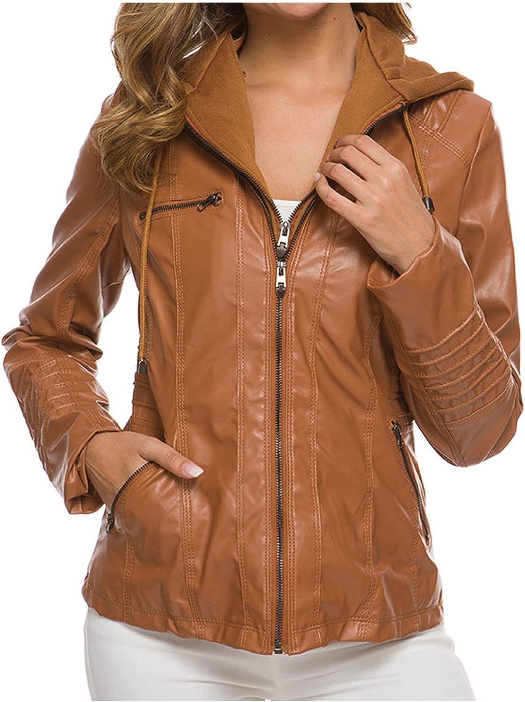 RFNIU Womens Hooded Faux Leather New York Mall Jacket Biker shop Fashion O Zip Moto