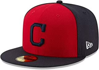 New Era Cleveland Indians 59Fifty Fitted Size 7 5/8 BP C Logo Hat Baseball Cap - Navy Blue & Red