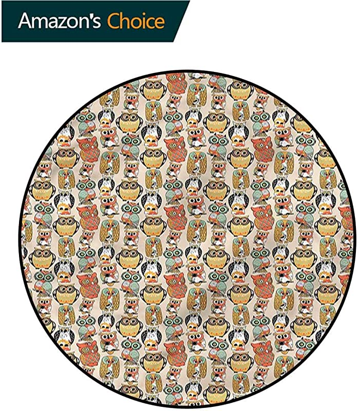 RUGSMAT Owls Modern Machine Washable Round Bath Mat Artistic Floral Ornaments Protect Floors While Securing Rug Making Vacuuming Diameter 24