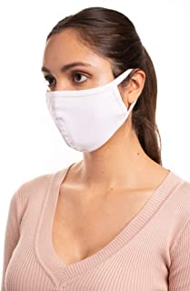 Auliné Collection Made in USA Cotton Fabric Washable Reusable Filter Pocket Face Mask, White 1 PK