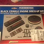 Proform 141-758 Black Crinkle Engine Dress-Up Kit with Red Chevrolet//Bowtie Logo for Small Block Chevy