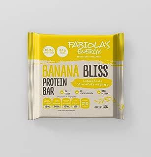Fabiola's Energy Protein Bars Veganas, Sabor Banana Bliss 50 g por barrita. Caja con 10 barritas