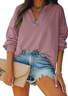 Button Up Long Women T Shirt V Neck Long Sleeve Tops...