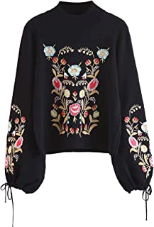Women's Floral Embroidered Lantern Long Sleeve Pullover Mock Neck Knit Sweater Top