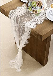 OurWarm 120in x 14in Vintage Wedding Lace Overlay Table Runner White Floral Lace Table Runners Chair Sash for Rustic Chic Boho Wedding Table Decor, Baby & Bridal Shower Party Decor