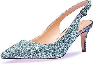 CASTAMERE Escarpins Femme Kitten-Heels Slingback Bout Pointu Sandales 6.5CM