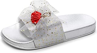 Summer Women Slippers Slides Flat Home with Soft and Thick (Color : Silver, Size : 39)
