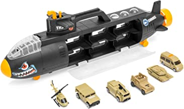 Best Choice Products Military Submarine Shark Car Carrier Toy w/ 6 Military Vehicles And 13 Slots