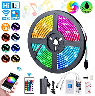 WiFi LED Strip Light 5050 RGB Smart Light Strip 300 LEDs Alexa Google APP Controller with Color Changing Waterproof Rope Lights Sync for Home Kitchen Bedroom Party Decoration(16.4ft)