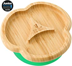 Baby Toddler Divider Plate, Suction Stay Put Feeding Plate, Natural Bamboo (Green)