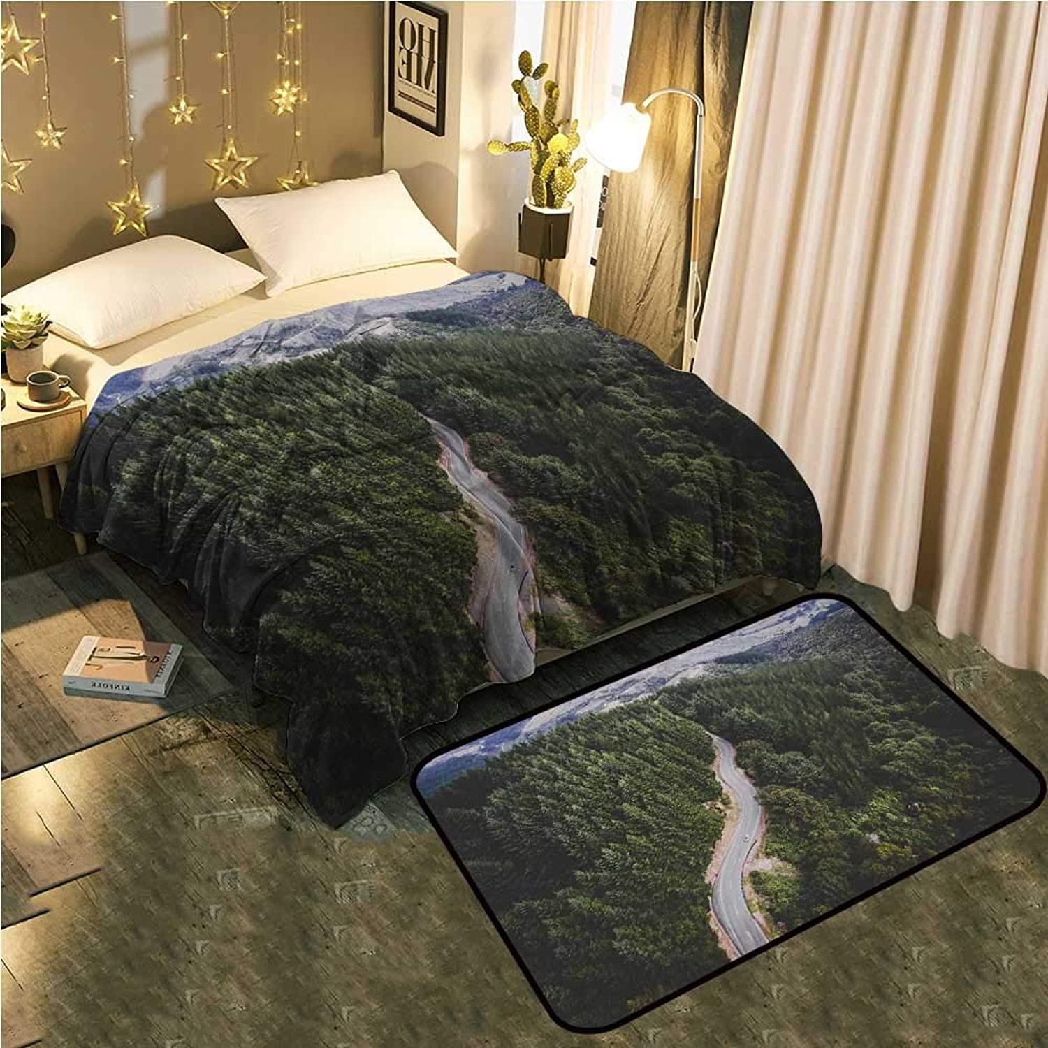UNOSEKS-Home Bedside Blanket Doormat suitA Forest Road for Aerial Photography Cozy and Durable Blanket 50 x70  Mat 2'X4'