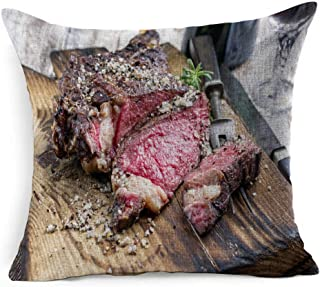Ahawoso Linen Throw Pillow Cover Square 18x18 Brown American Fillet Barbecue Cote Dry Aged Wagyu Tomahawk Steak Food Drink Beef Red Angus Australian Bone BBQ Pillowcase Home Decor Cushion Pillow Case