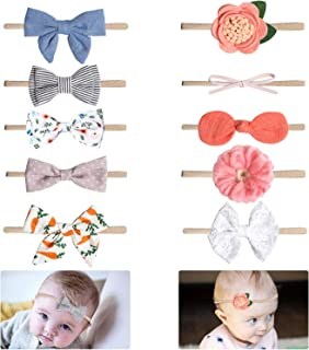 10 Packs Baby Headbands Bows Flower Lace Band Hair Accessories Baby Girl Nylon Turban Headwraps Infant Beanie Soft Cap