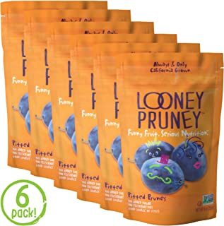 Looney Pruney California Pitted Prunes / Non-GMO Project Verified/ Preservative Free (6pack)