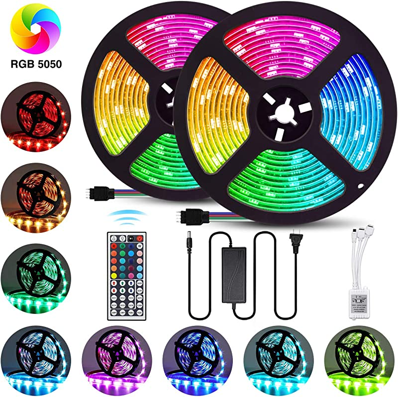 Elfeland LED Strip Lights 32 8FT 10M 300 LEDs SMD5050 RGB Strip Lights IP65 Waterproof Rope Lights Color Changing Flexible Tape Light Kit With 44 Keys IR Remote Controller 12V 5A Power Supply
