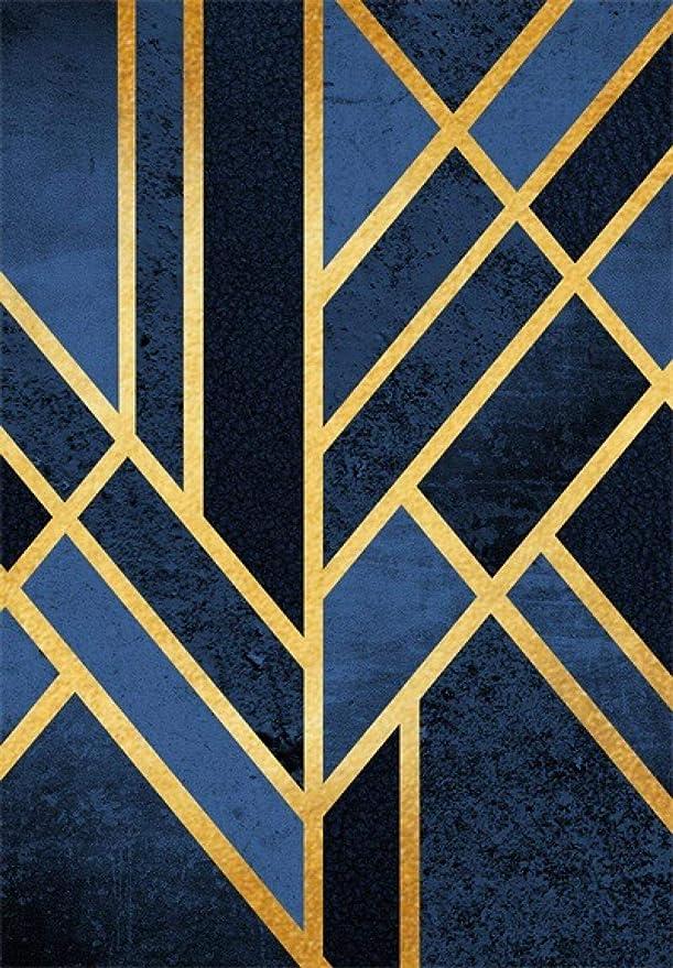 Moderne Tapis Salon Chambre Poil Court Vinyl Rug Art g/éom/étrique Traditionnel Bleu Marine Noir dor/é Extra Large//M/édium//Petit Rug Carpet Chambre Enfant Insonorisant D/éco Tapis 80/×120CM