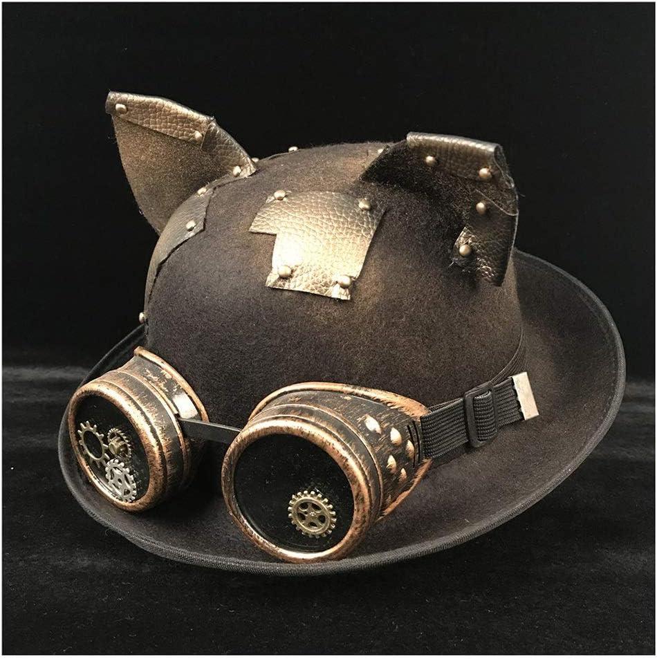 no-branded Women Men Unisex Steampunk Bowler Hat Glasses Topper Top Hats Headwear Dome Topper Luxury Fedora Hat ZRZZUS (Color : Black BLG, Size : 57-58CM)