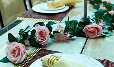 YATAI Hanging Rose Artificial Garland Vines Leaves Rose Flower Vine Garland Ivy Plants Silk Arch Garden Wall Décor Hanging...