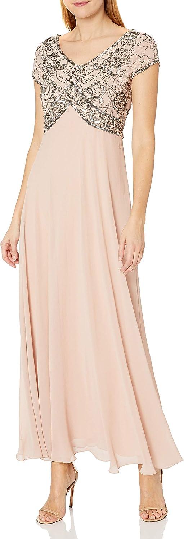 J Kara Women's Petite Cap V-Neck Beaded Dress