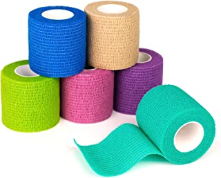 """FriCARE 2 """"Wide x 5 Yards Bandage Self-adhesive Non-woven، Self-Adherent Cohesive First Aid Medical Wrap، Elastic Altificial / Vet Film for Rhinestone (Rainbow، 6 Pack)"""