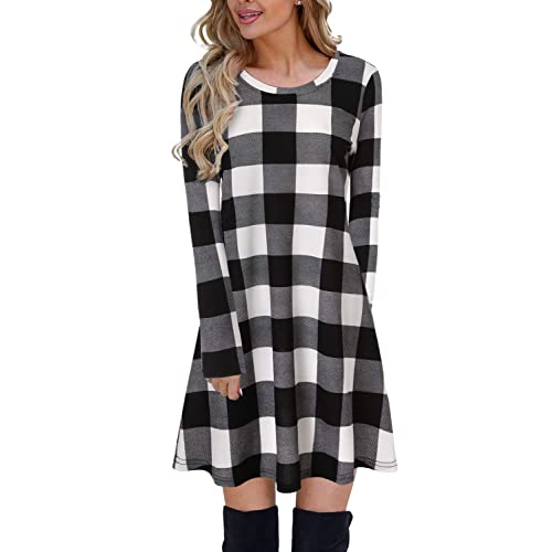 eeace8c36d2a Blooming Jelly Ladies Plaid Dress Long Sleeve Swing Jumper Winter T Shirt  Dresses for Women