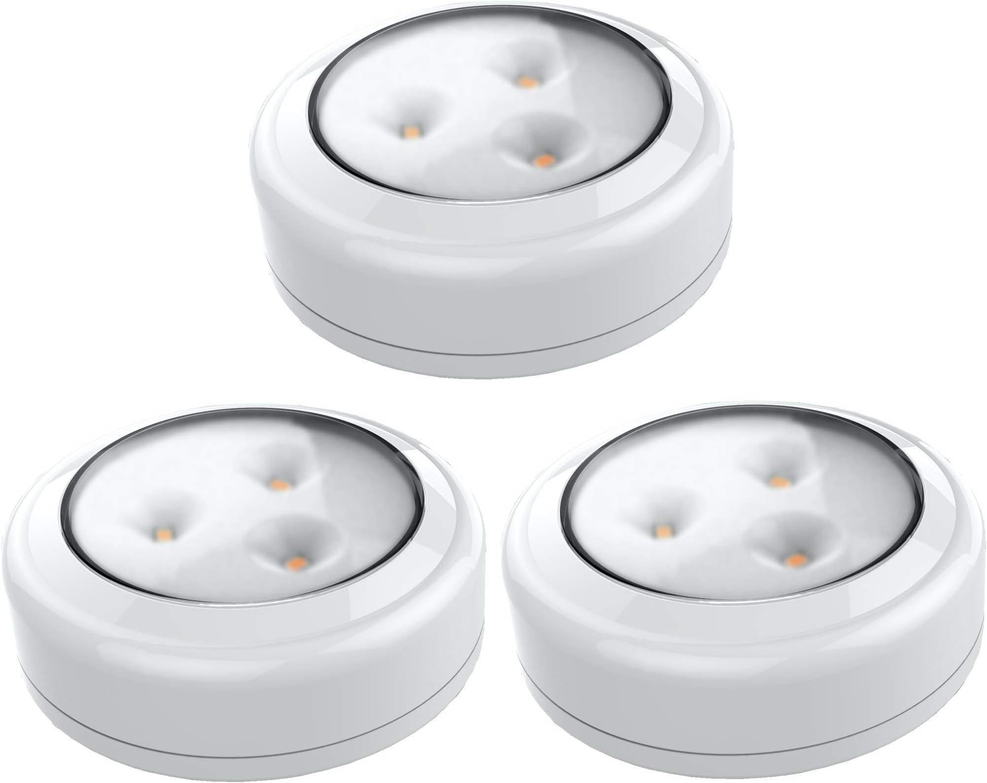 Brilliant Evolution BRRC133 Wireless LED Puck Light 3 Pack | LED Under Cabinet Lighting | Closet Light | Battery Powered Lights | Under Counter Lighting | Stick On Lights