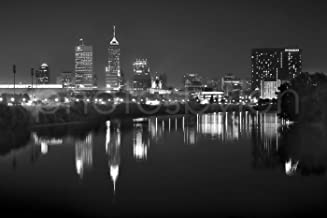 Indianapolis Skyline at Night Black & White BW City Downtown 12 inches x 18 inches Indy Photographic Panorama Poster Print Photo Picture Standard Size