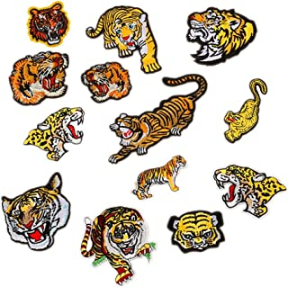 13pcs Assorted Lion Tiger Leopard Wolf Deer Eagle Embroidered Safri Animal Patches Sew Iron on Applique Badge (Tiger)