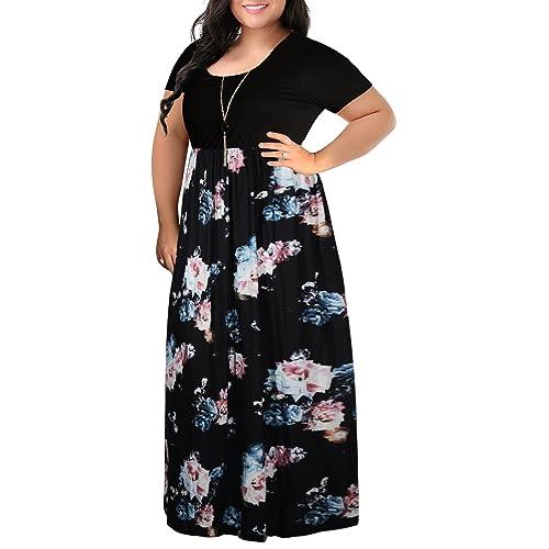 11f52db90c604 Nemidor Women s Chevron Print Summer Short Sleeve Plus Size Casual Maxi  Dress