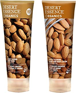 Desert Essence Sweet Almond Body Wash and Desert Essence Sweet Almond Hand and Body Lotion Bundle With Organic Sweet Almon...