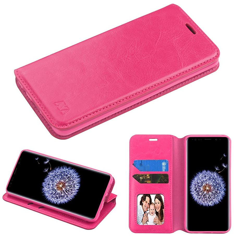 Case+Stylus PU Leather Wallet Fits Samsung Galaxy S9 Plus G9640 MYBAT Book-Style MyJacket Wallet - Hot Pink